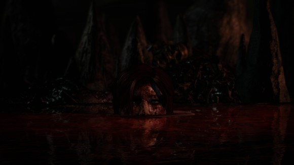 Yep - that's Lara swimming in a river of blood.