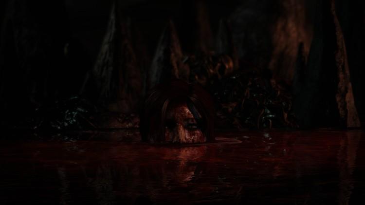 Yep - that's Lara swimming in a river of blood.
